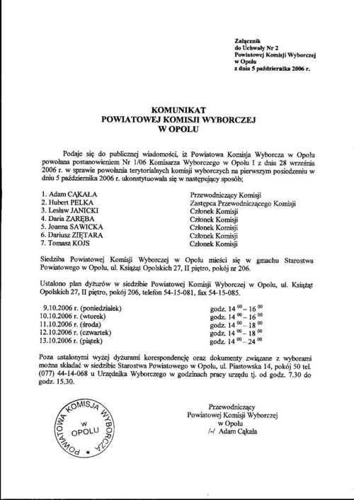Komunikat Powiatowej Komisji Wyborczej z dnia 5 październiak 2006 r.